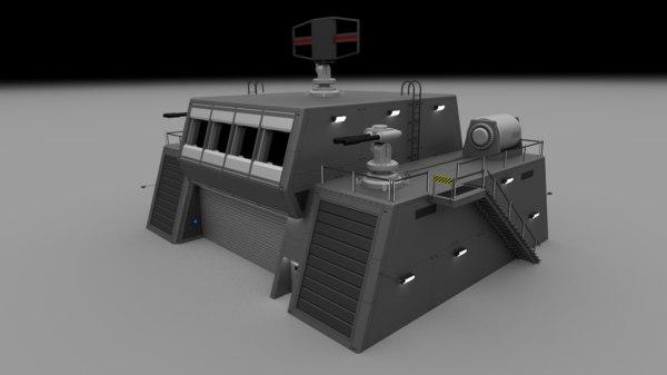 futuristic military command bunker 3d model