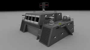 futuristic military command bunker 3d model