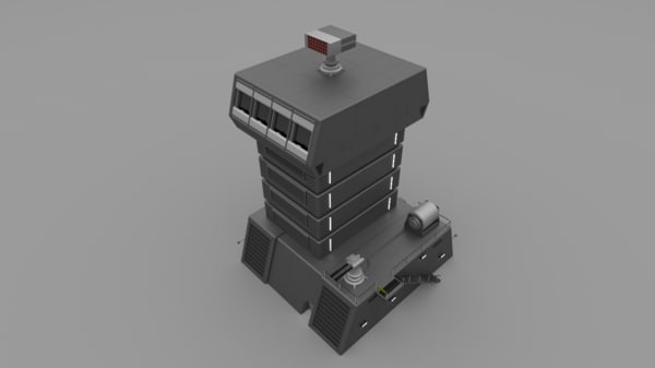 obj futuristic military defense tower building