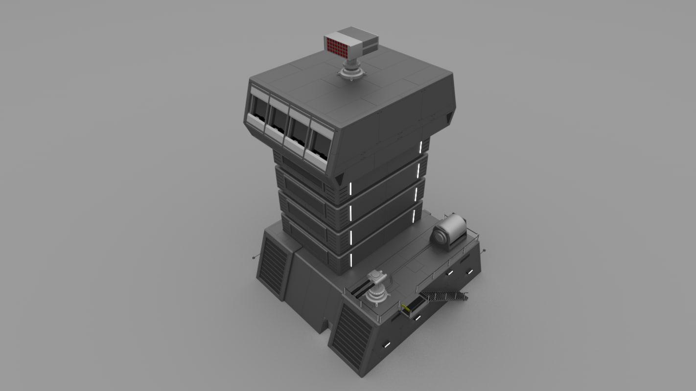 obj futuristic military defense tower building