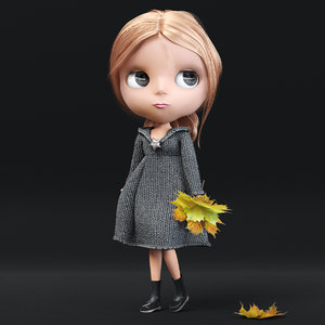 3d model of characters cartoon girl doll