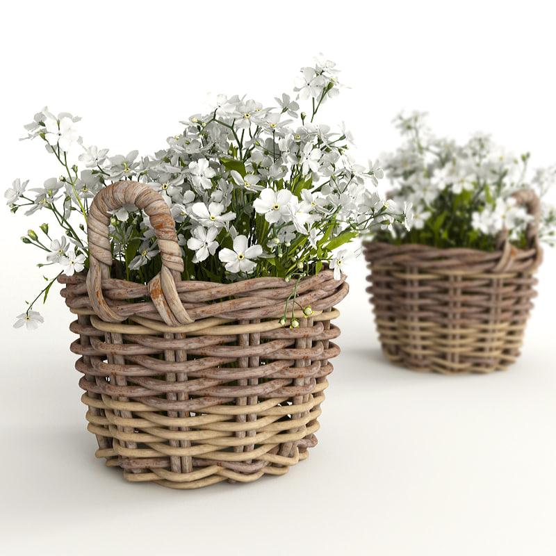 3d model flowers basket