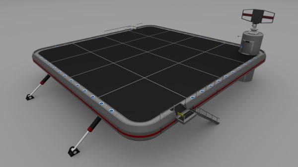 futuristic military landing platform 3d 3ds