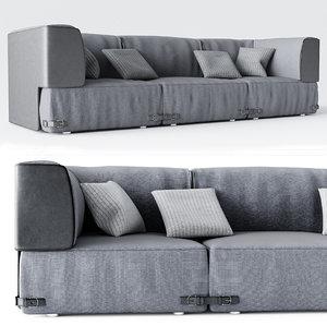 3d model grey seat fabric