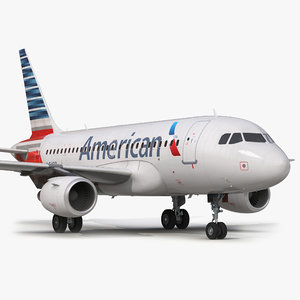 airbus a318 american airlines 3d model