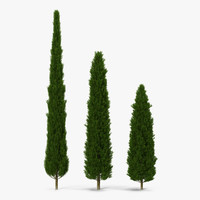 cypress trees set 3d 3ds