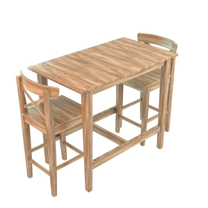 table wood chair 3d model