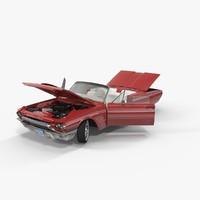 3d model thunderbird 1964 cabriolet rigged