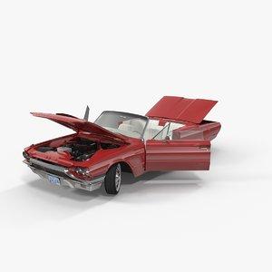 3d model thunderbird 1964 cabriolet rigged