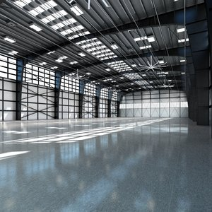 3d model hangar world scene