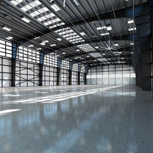 3d model hangar world scene