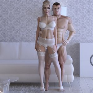 3d rigged male female characters model