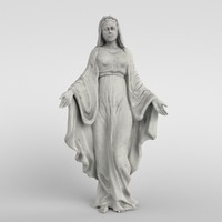 virgin mary statue 3d model