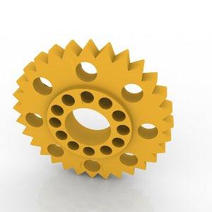 3d aged brass spur gear