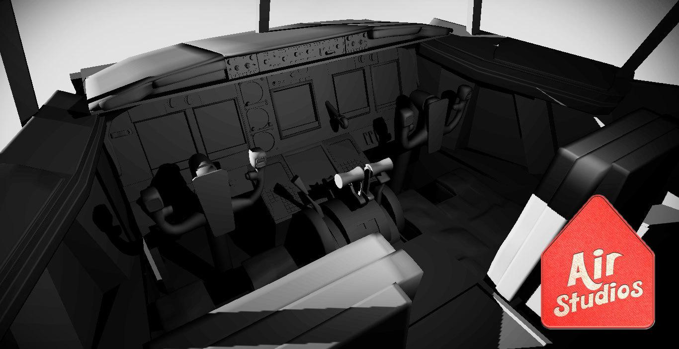 3d commercial jet cockpit