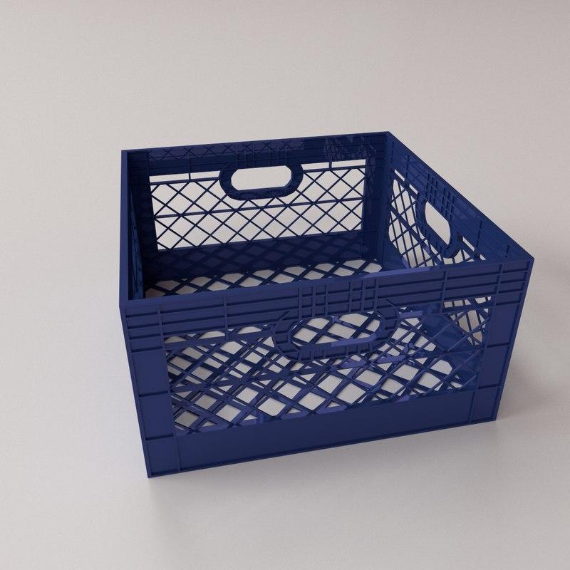 milk crate 3d obj