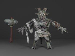 3d fantasy troll weapon