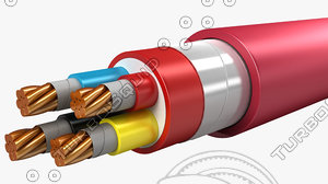 3d model of electrical cables lshf insulated