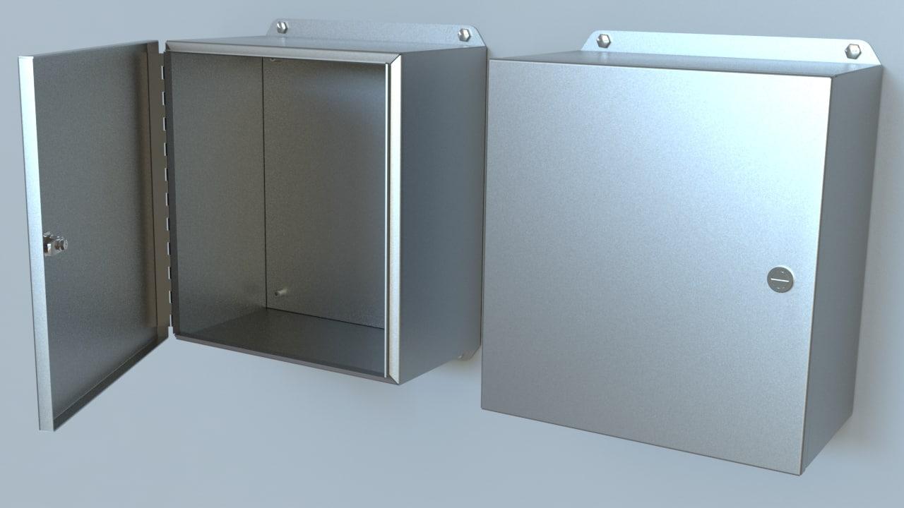 3d model of steel panel box