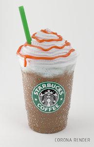 3d frappuccino caramel model