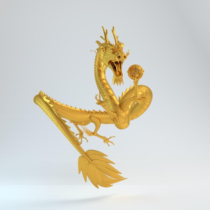 3d model gold dragon statue