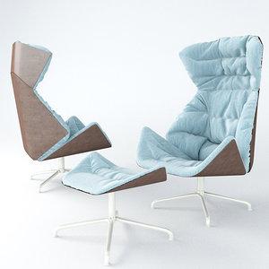 thonet lounge chair 808 3d model