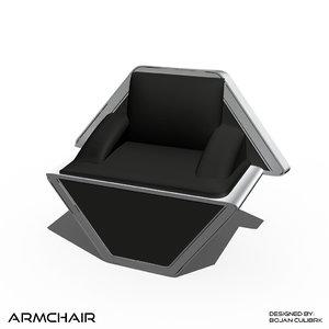 3d model andromeda armchair 3