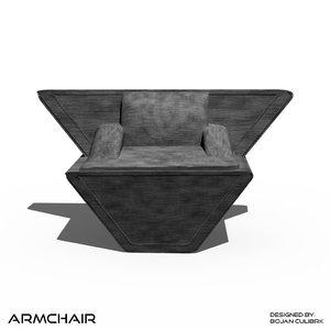 andromeda armchair 2 3d model