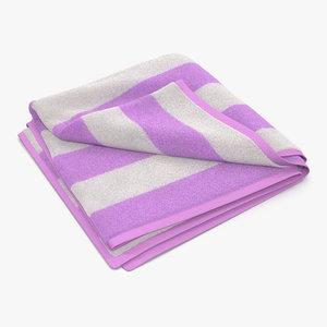 beach towel 2 pink 3d max