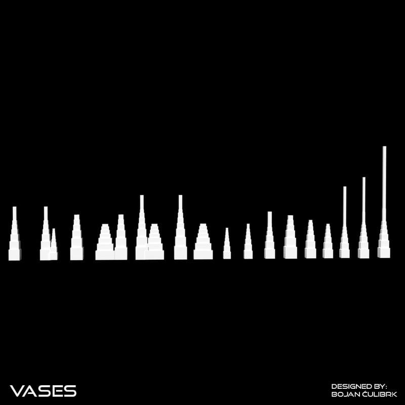 architectural building vases 3d model