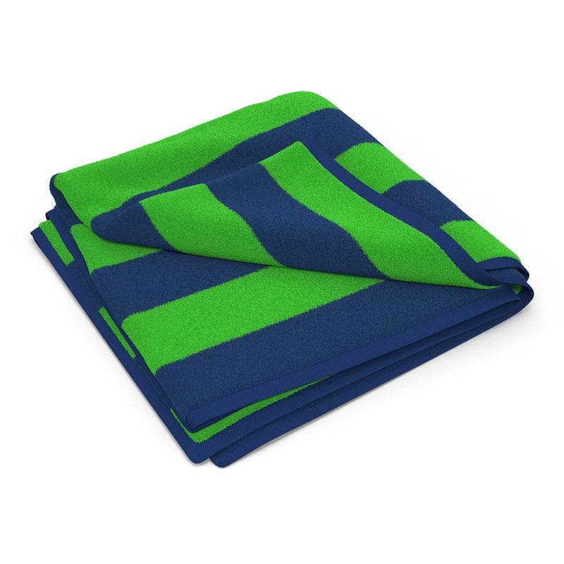 3d model of beach towel 2 green