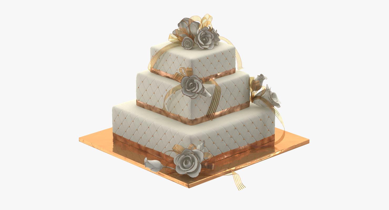 square wedding cake c4d