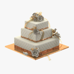 square wedding cake c4d
