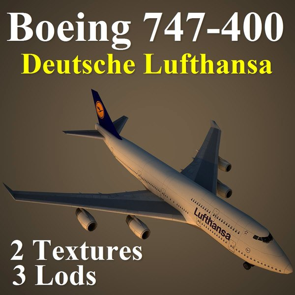 3d max boeing 747-400 dlh