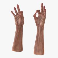 3d old man hands pose model