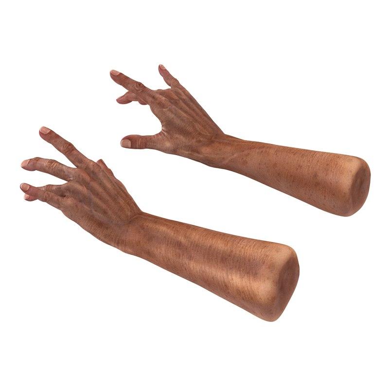 old man hands pose 3d c4d