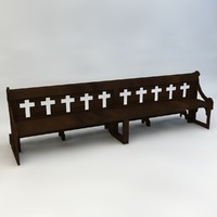 3d wooden church bench