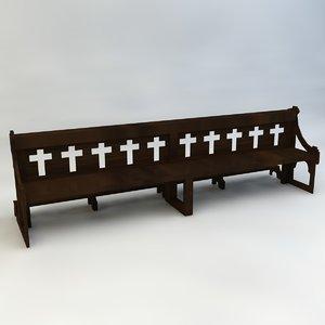 3d wooden church bench