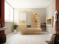 3d wooden bathtup bathroom model