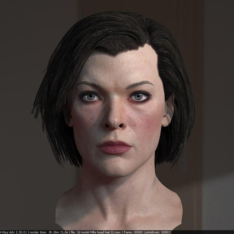 3d milla jovovich head hair model