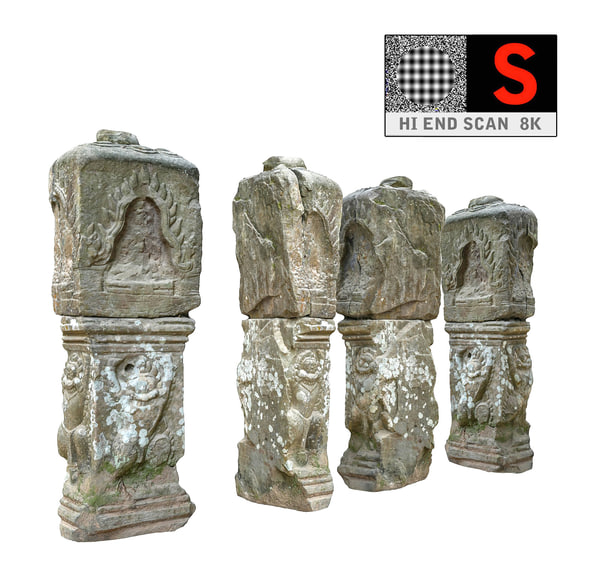 ancient column cambodia 8k 3d obj