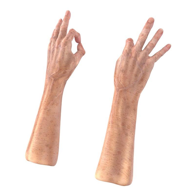 old man hands 3 3d model