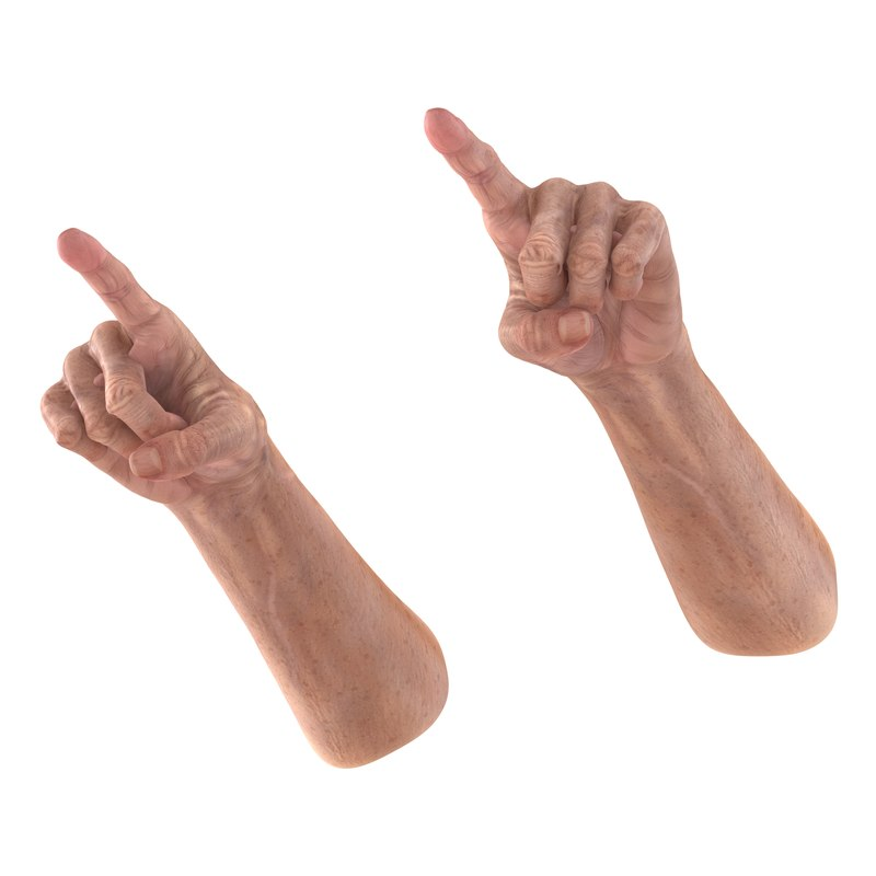 3d model old man hands 3