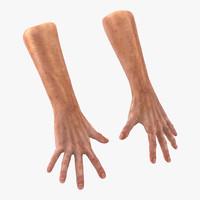 Old Man Hands 2 Pose 4 3D Model