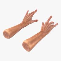 Old Man Hands 2 Pose 3 3D Model