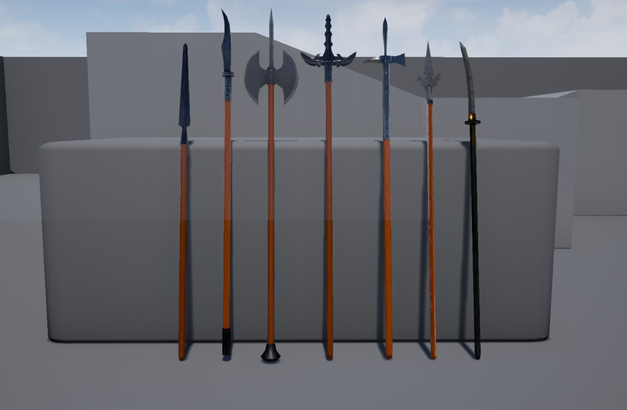 polearm medieval weapons 3d model