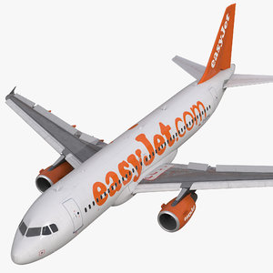 3d model airbus a320 easyjet rigged