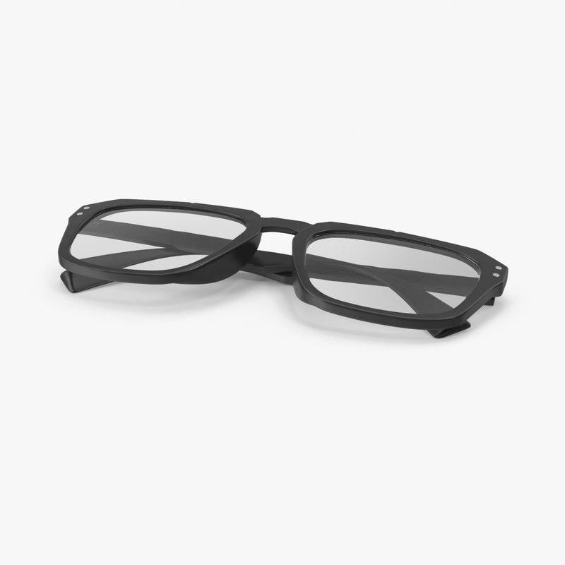 clark kent glasses folded 3d model