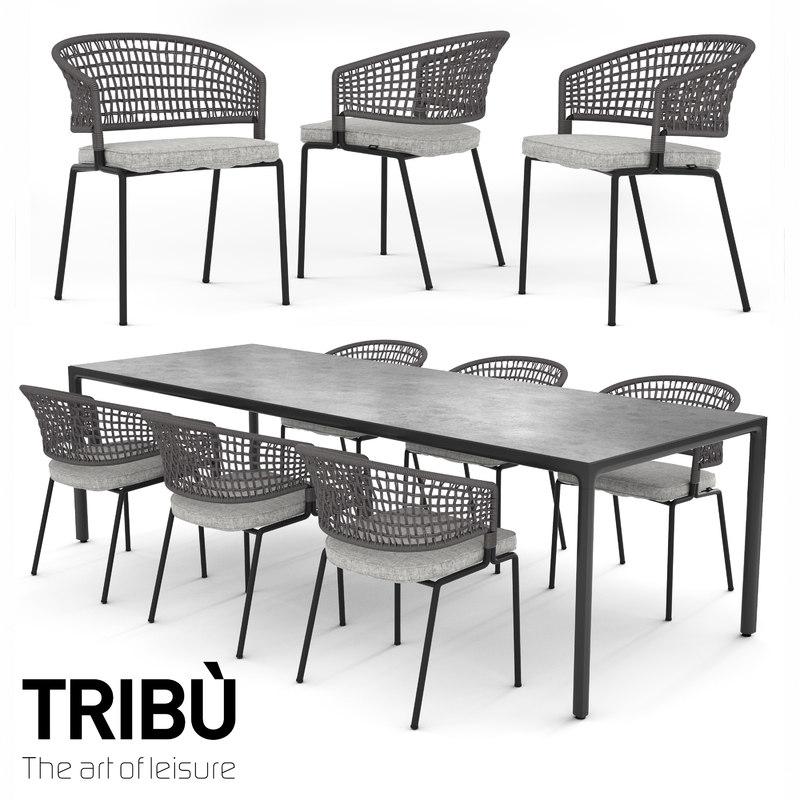 3d model tribu contour armchair illum