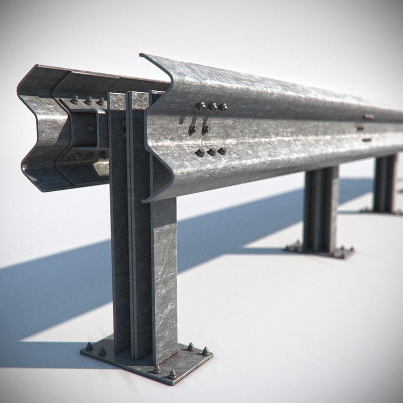 3d model of road guardrail